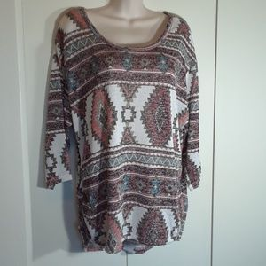 Almost Famous knit tribal design pull-over